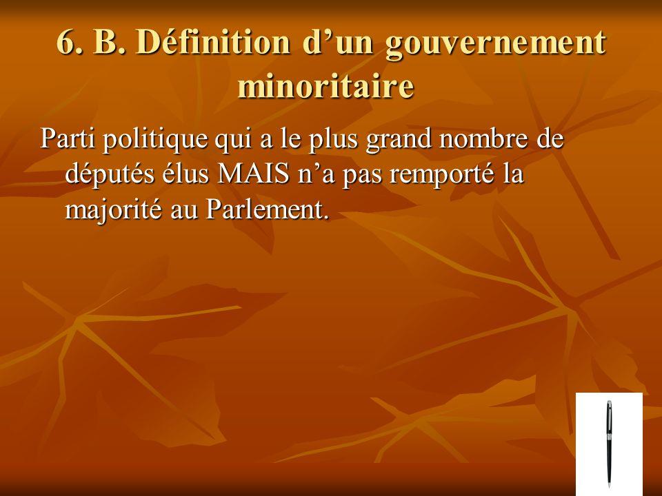 6. B. Définition dun gouvernement minoritaire 6. B. Définition dun gouvernement minoritaire Parti politique qui a le plus grand nombre de députés élus