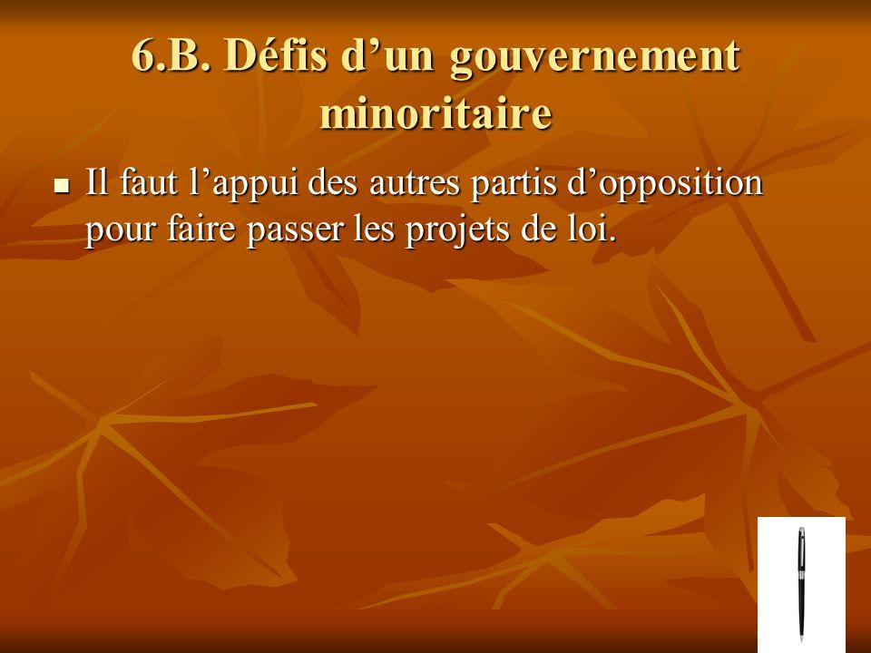 6.B. Défis dun gouvernement minoritaire Il faut lappui des autres partis dopposition pour faire passer les projets de loi. Il faut lappui des autres p