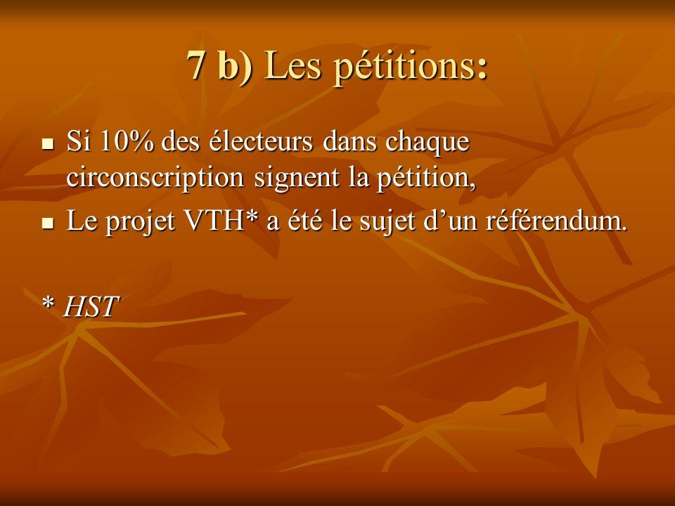7 b) Les pétitions: Si 10% des électeurs dans chaque circonscription signent la pétition, Si 10% des électeurs dans chaque circonscription signent la