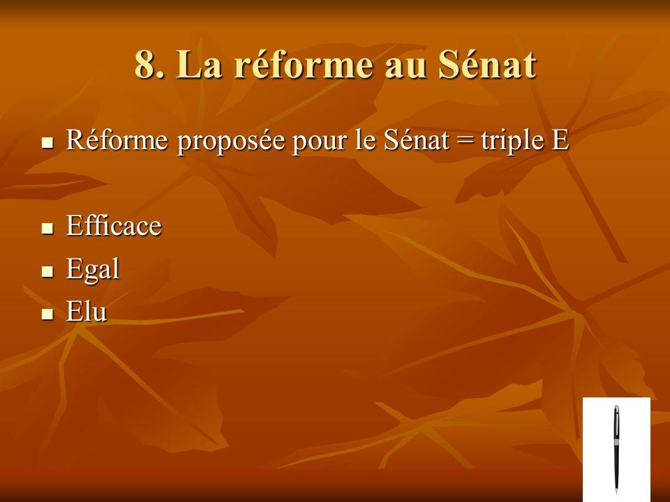8. La réforme au Sénat Réforme proposée pour le Sénat = triple E Réforme proposée pour le Sénat = triple E Efficace Efficace Egal Egal Elu Elu