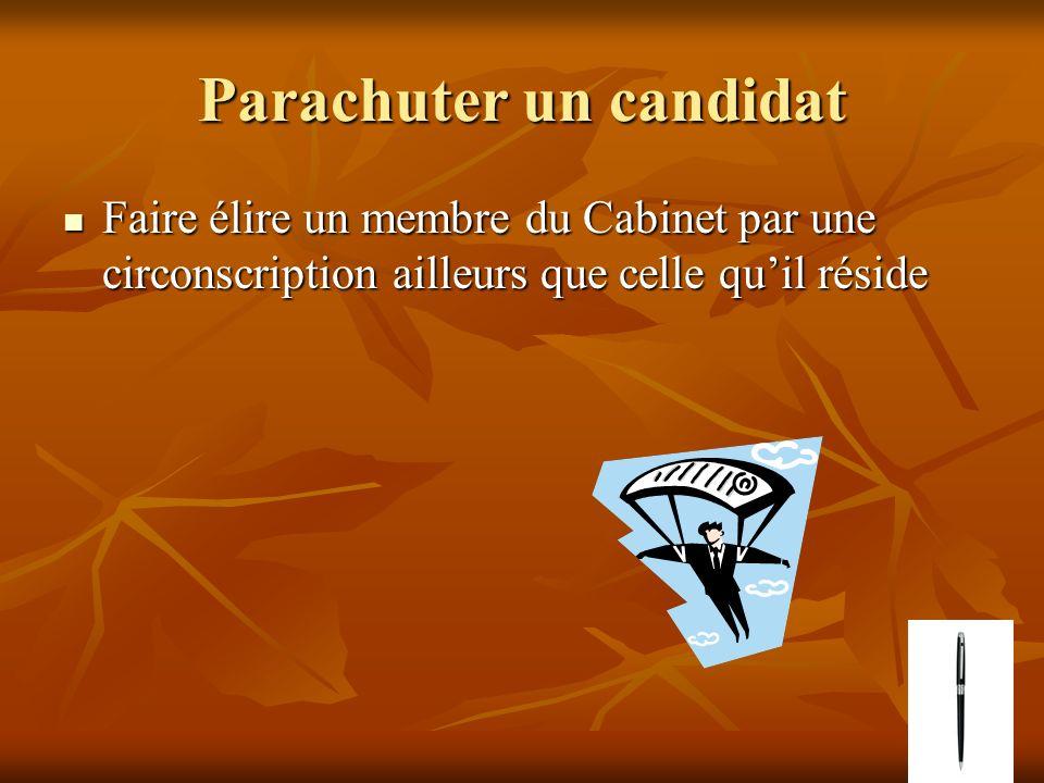 Parachuter un candidat Faire élire un membre du Cabinet par une circonscription ailleurs que celle quil réside Faire élire un membre du Cabinet par un