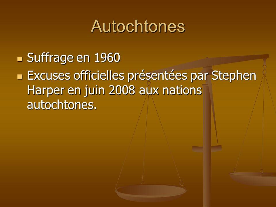 Autochtones Suffrage en 1960 Suffrage en 1960 Excuses officielles présentées par Stephen Harper en juin 2008 aux nations autochtones.