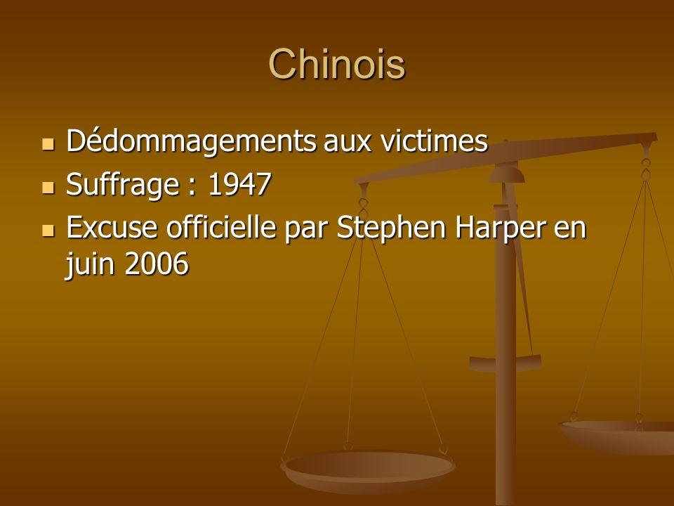 Chinois Dédommagements aux victimes Dédommagements aux victimes Suffrage : 1947 Suffrage : 1947 Excuse officielle par Stephen Harper en juin 2006 Excuse officielle par Stephen Harper en juin 2006