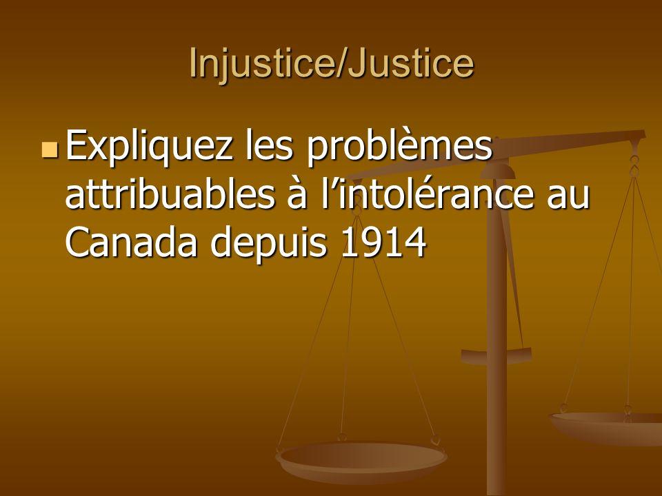 Injustice/Justice Expliquez les problèmes attribuables à lintolérance au Canada depuis 1914 Expliquez les problèmes attribuables à lintolérance au Canada depuis 1914