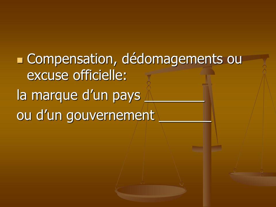 Compensation, dédomagements ou excuse officielle: Compensation, dédomagements ou excuse officielle: la marque dun pays ________ ou dun gouvernement _______