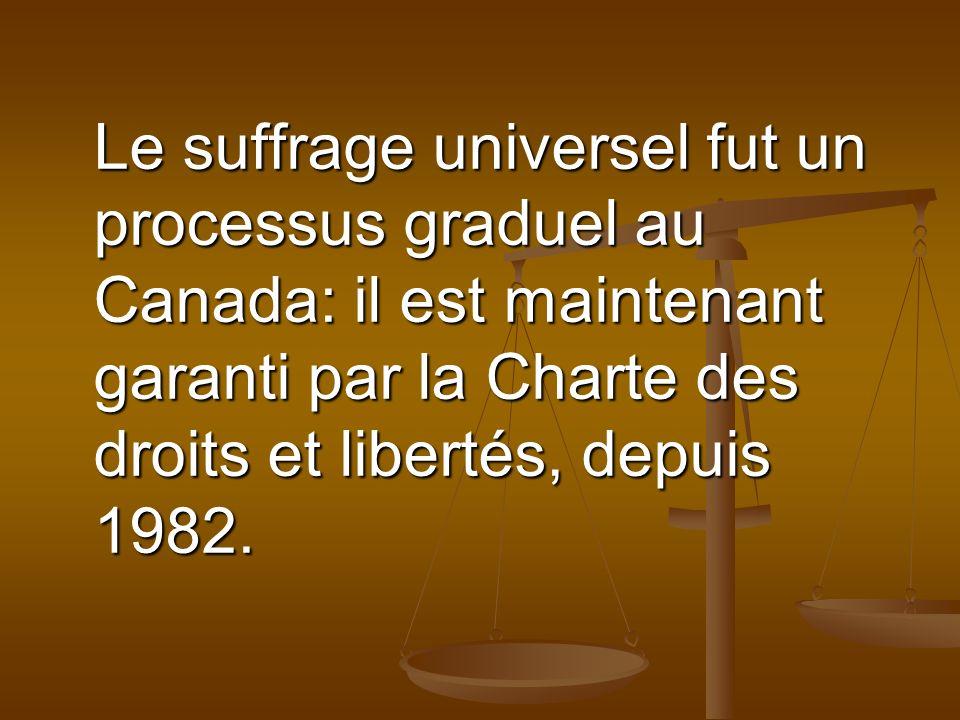 Le suffrage universel fut un processus graduel au Canada: il est maintenant garanti par la Charte des droits et libertés, depuis 1982.