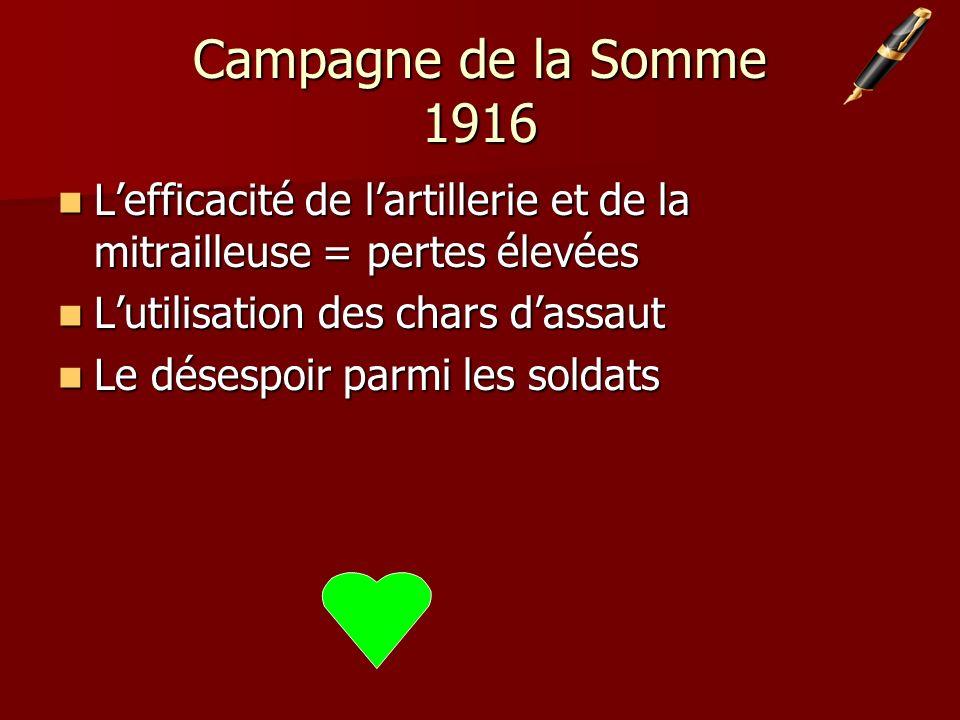 Campagne de la Somme 1916 Lefficacité de lartillerie et de la mitrailleuse = pertes élevées Lefficacité de lartillerie et de la mitrailleuse = pertes élevées Lutilisation des chars dassaut Lutilisation des chars dassaut Le désespoir parmi les soldats Le désespoir parmi les soldats