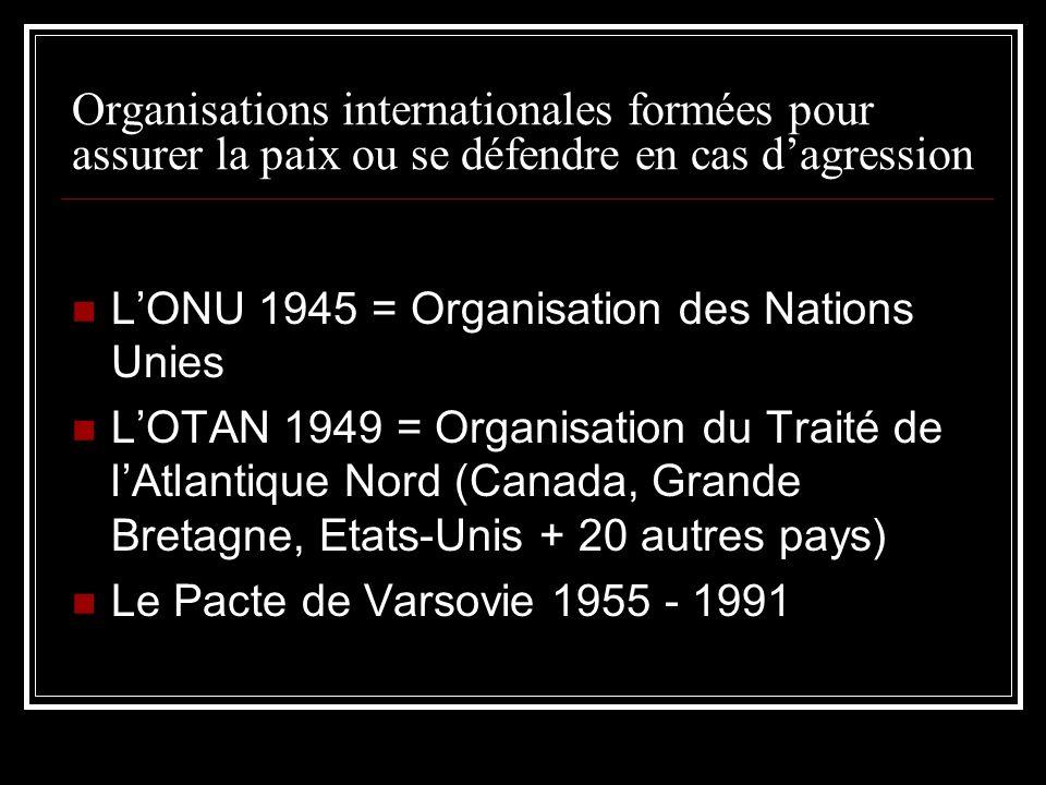 Organisations internationales formées pour assurer la paix ou se défendre en cas dagression LONU 1945 = Organisation des Nations Unies LOTAN 1949 = Or