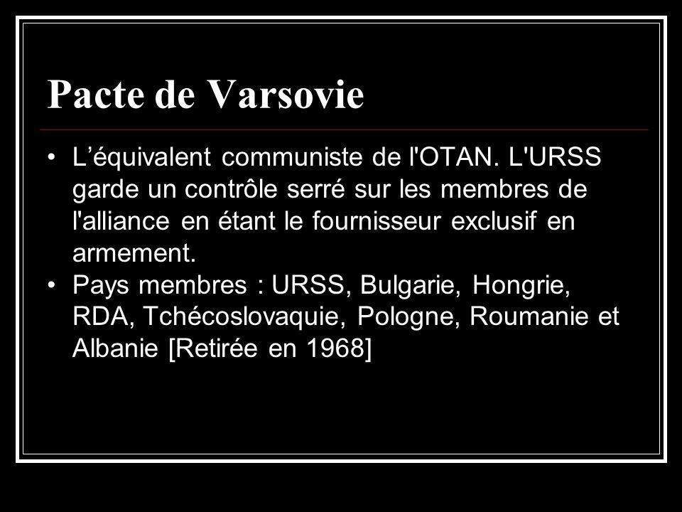 Pacte de Varsovie Léquivalent communiste de l'OTAN. L'URSS garde un contrôle serré sur les membres de l'alliance en étant le fournisseur exclusif en a