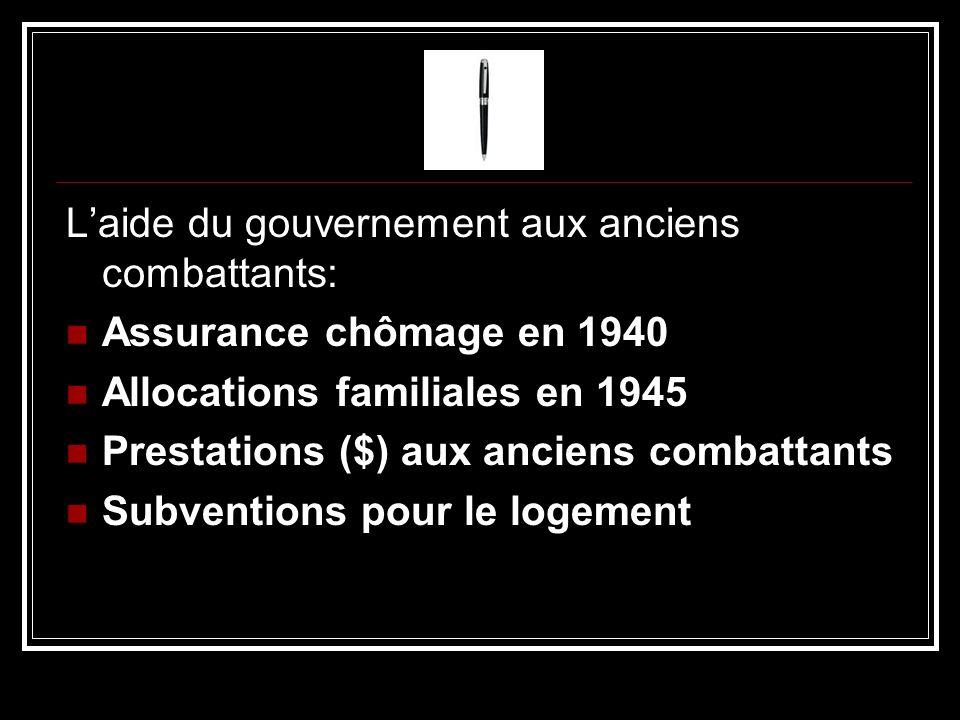Laide du gouvernement aux anciens combattants: Assurance chômage en 1940 Allocations familiales en 1945 Prestations ($) aux anciens combattants Subven