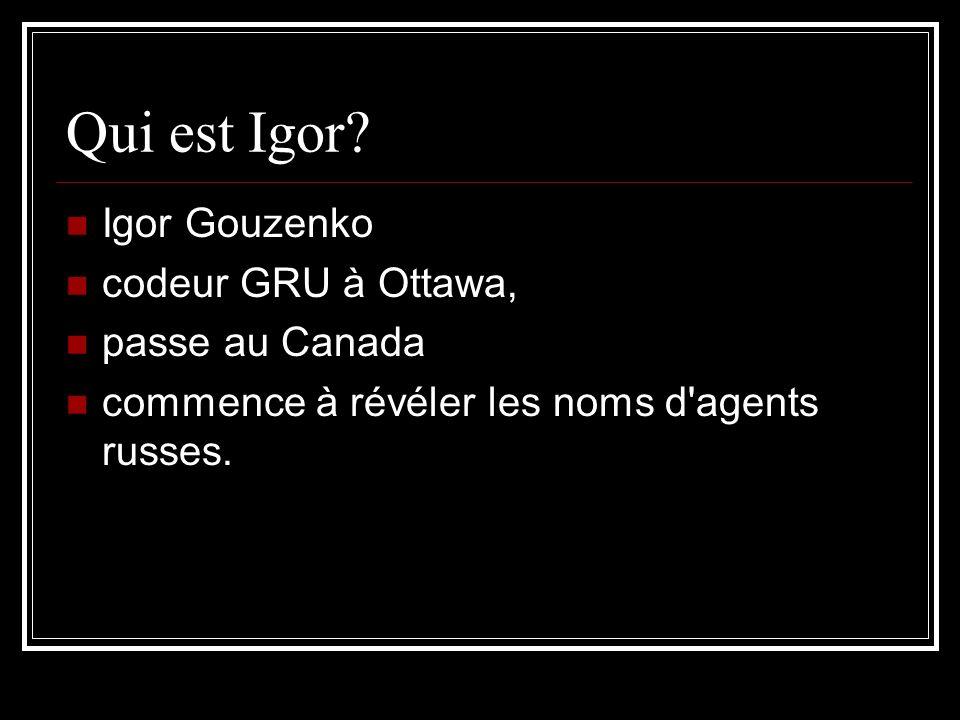Qui est Igor? Igor Gouzenko codeur GRU à Ottawa, passe au Canada commence à révéler les noms d'agents russes.
