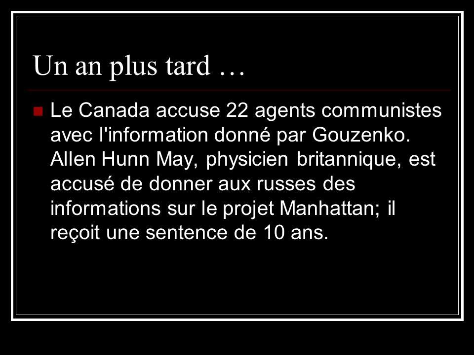 Un an plus tard … Le Canada accuse 22 agents communistes avec l'information donné par Gouzenko. Allen Hunn May, physicien britannique, est accusé de d