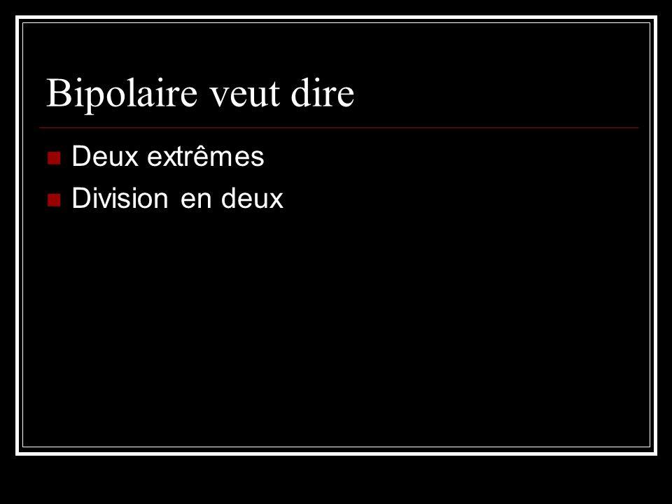 Bipolaire veut dire Deux extrêmes Division en deux