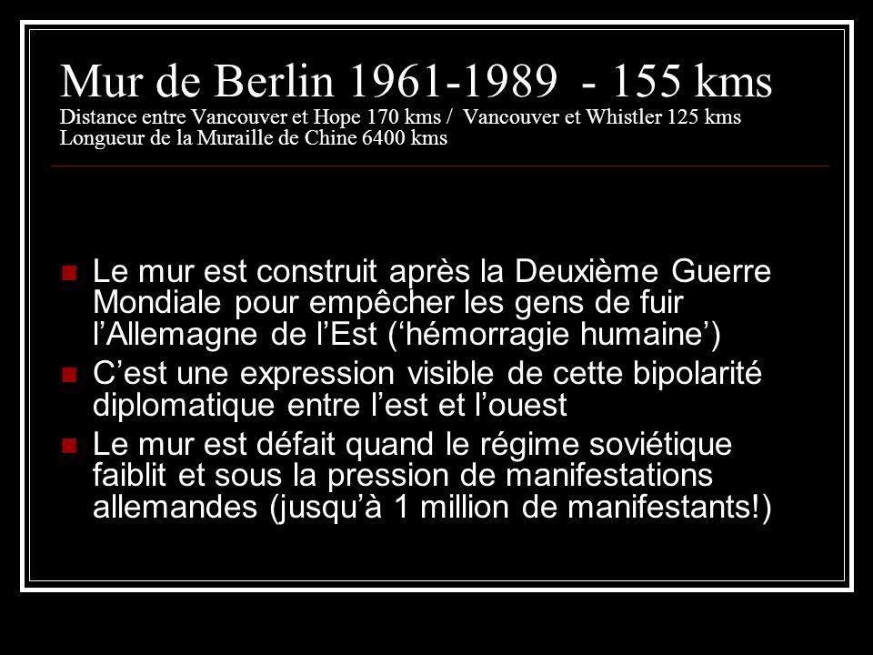 Mur de Berlin 1961-1989 - 155 kms Distance entre Vancouver et Hope 170 kms / Vancouver et Whistler 125 kms Longueur de la Muraille de Chine 6400 kms L