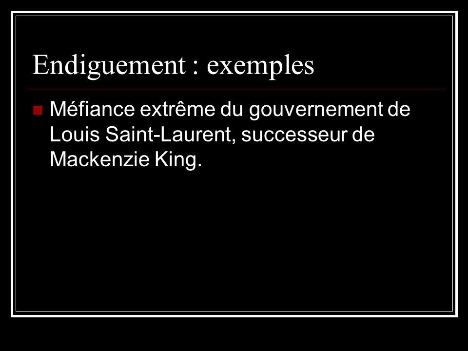 Endiguement : exemples Méfiance extrême du gouvernement de Louis Saint-Laurent, successeur de Mackenzie King.