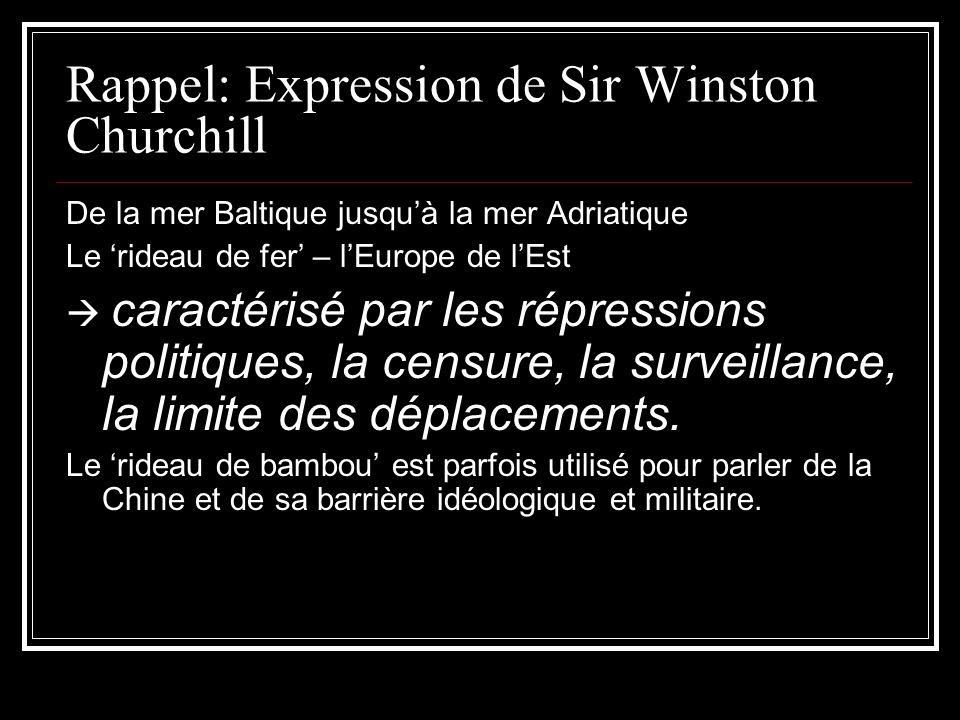 Rappel: Expression de Sir Winston Churchill De la mer Baltique jusquà la mer Adriatique Le rideau de fer – lEurope de lEst caractérisé par les répress