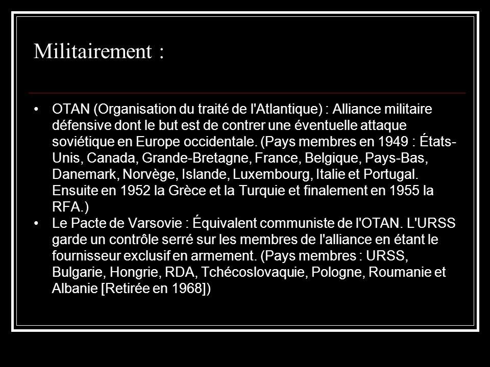 Militairement : OTAN (Organisation du traité de l'Atlantique) : Alliance militaire défensive dont le but est de contrer une éventuelle attaque soviéti