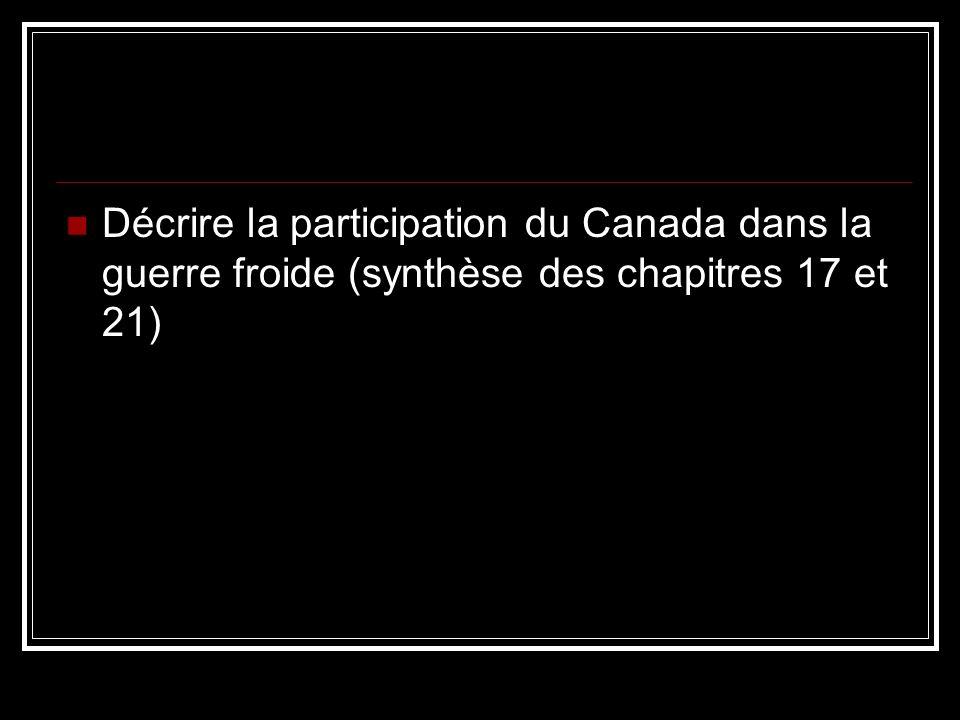 Décrire la participation du Canada dans la guerre froide (synthèse des chapitres 17 et 21)