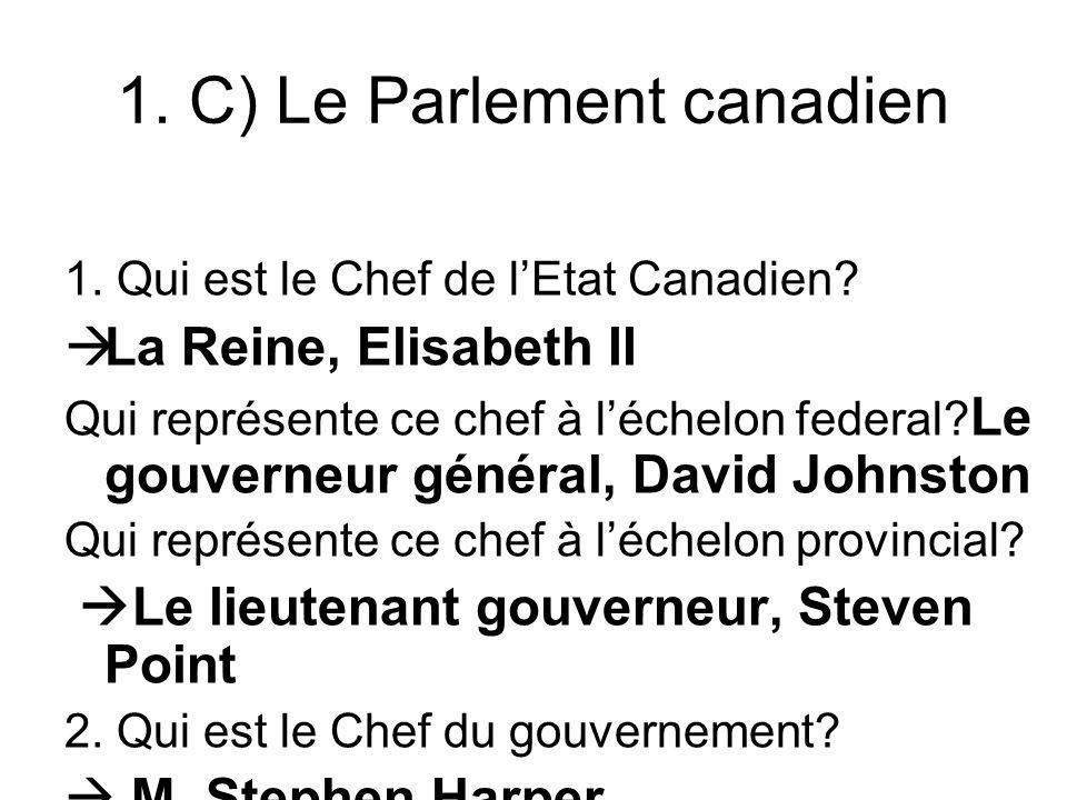 1. C) Le Parlement canadien 1. Qui est le Chef de lEtat Canadien? La Reine, Elisabeth II Qui représente ce chef à léchelon federal? Le gouverneur géné