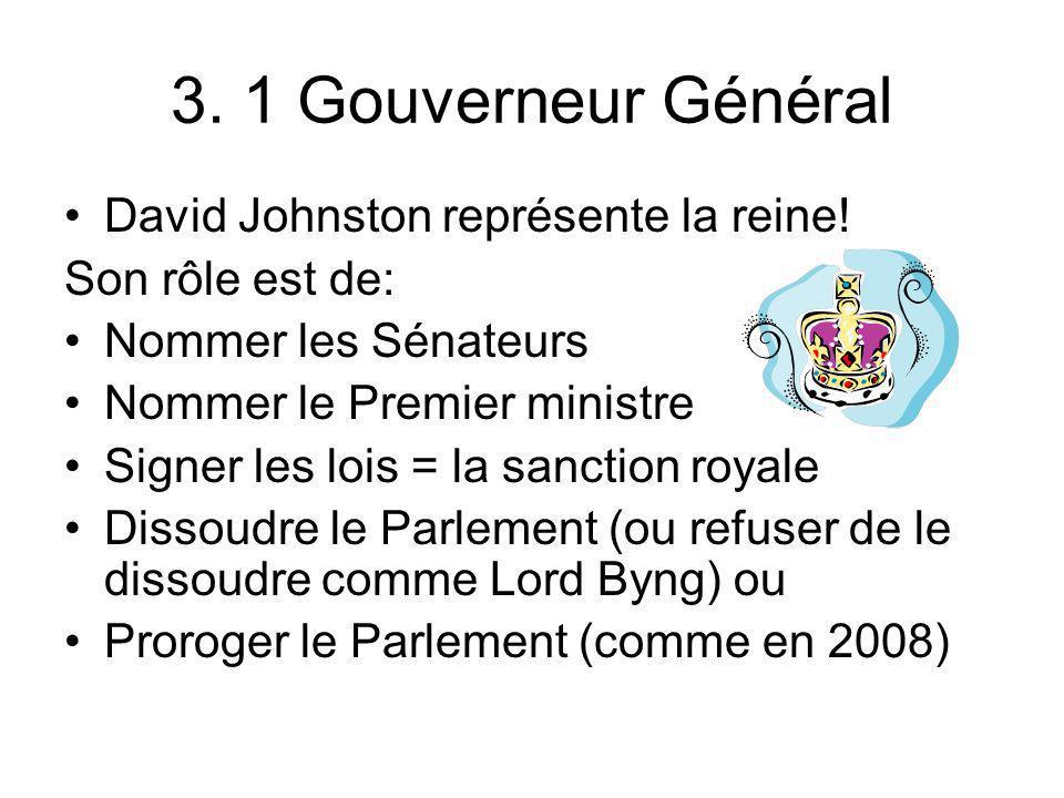 3. 1 Gouverneur Général David Johnston représente la reine! Son rôle est de: Nommer les Sénateurs Nommer le Premier ministre Signer les lois = la sanc