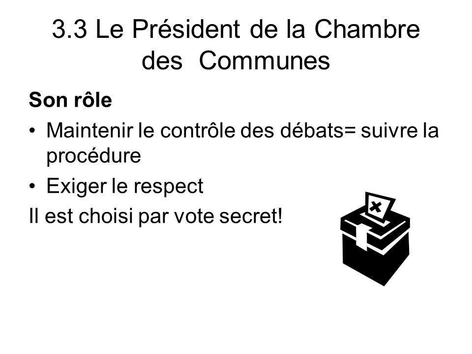 3.3 Le Président de la Chambre des Communes Son rôle Maintenir le contrôle des débats= suivre la procédure Exiger le respect Il est choisi par vote se