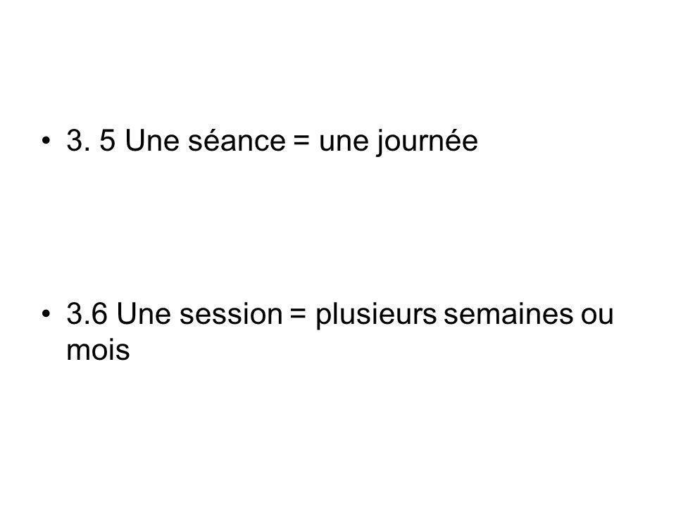 3. 5 Une séance = une journée 3.6 Une session = plusieurs semaines ou mois