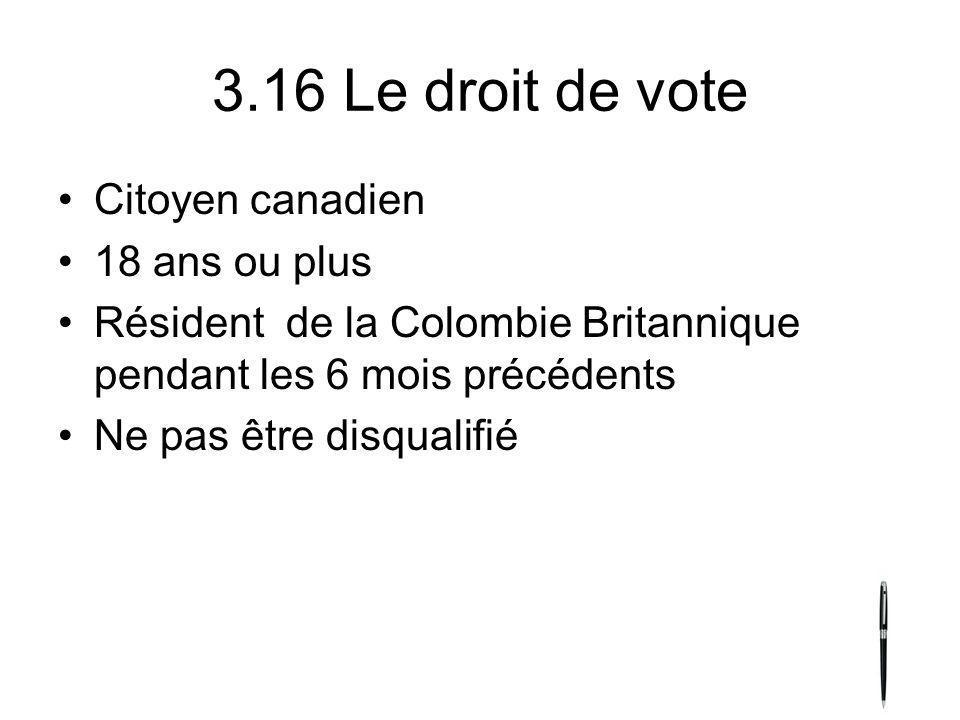 3.16 Le droit de vote Citoyen canadien 18 ans ou plus Résident de la Colombie Britannique pendant les 6 mois précédents Ne pas être disqualifié