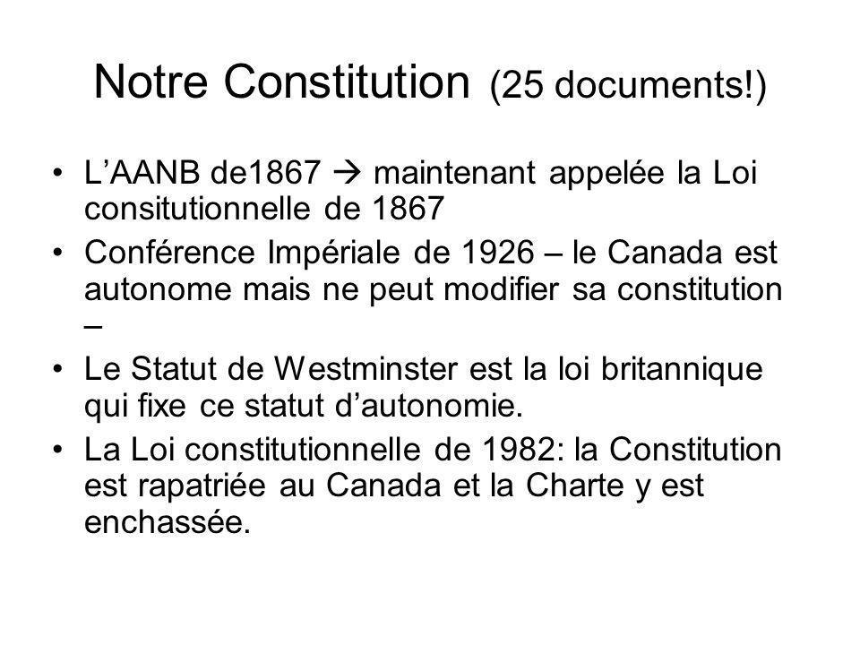Notre Constitution (25 documents!) LAANB de1867 maintenant appelée la Loi consitutionnelle de 1867 Conférence Impériale de 1926 – le Canada est autono