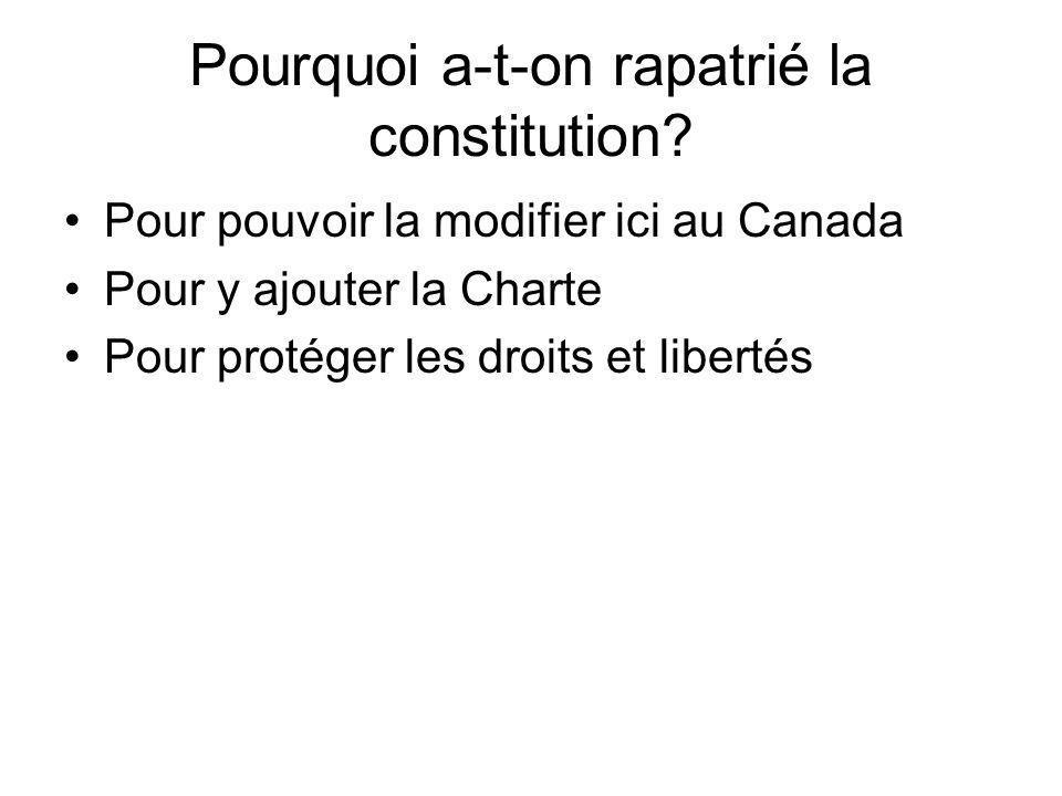 Pourquoi a-t-on rapatrié la constitution? Pour pouvoir la modifier ici au Canada Pour y ajouter la Charte Pour protéger les droits et libertés
