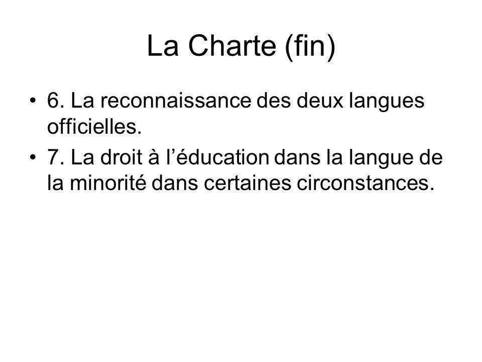 La Charte (fin) 6. La reconnaissance des deux langues officielles. 7. La droit à léducation dans la langue de la minorité dans certaines circonstances