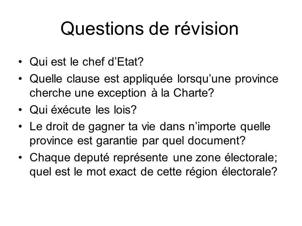 Questions de révision Qui est le chef dEtat? Quelle clause est appliquée lorsquune province cherche une exception à la Charte? Qui éxécute les lois? L