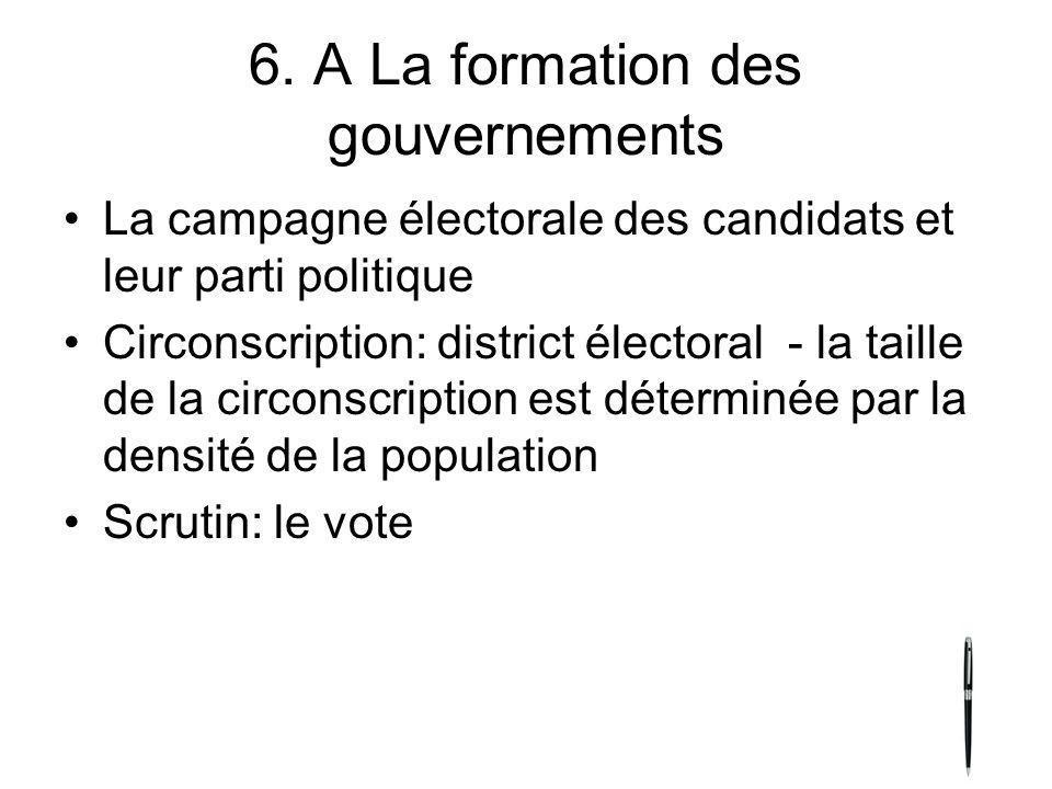 6. A La formation des gouvernements La campagne électorale des candidats et leur parti politique Circonscription: district électoral - la taille de la