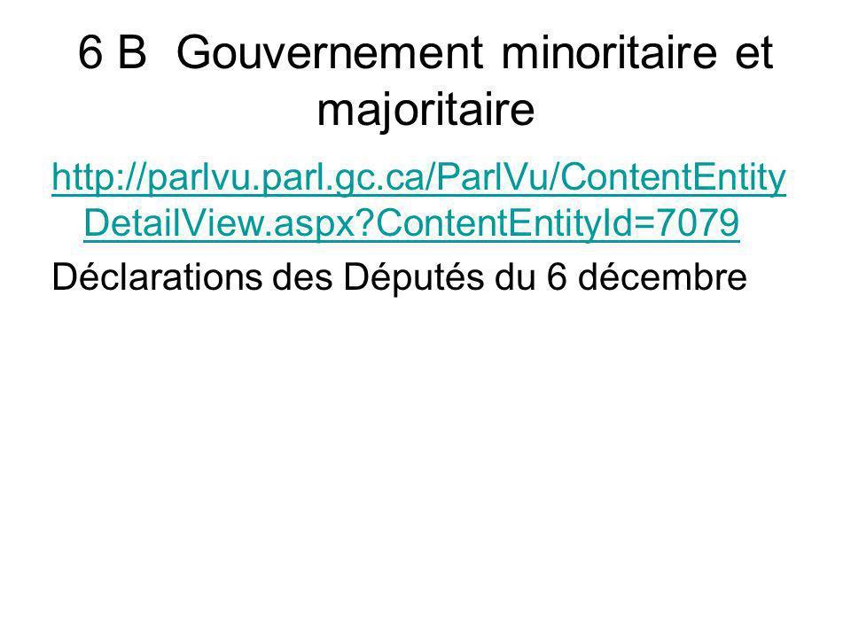 6 B Gouvernement minoritaire et majoritaire http://parlvu.parl.gc.ca/ParlVu/ContentEntity DetailView.aspx?ContentEntityId=7079 Déclarations des Député