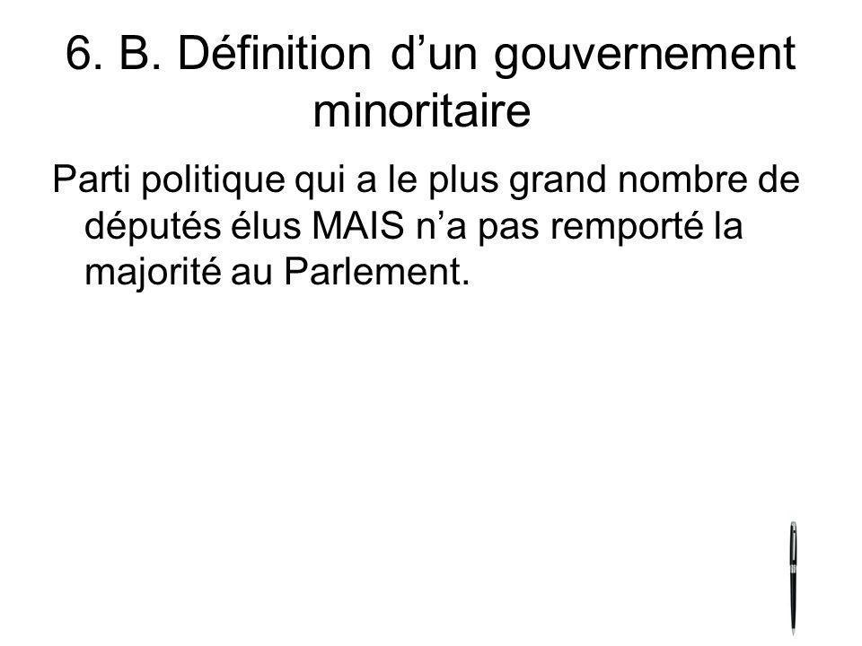 6. B. Définition dun gouvernement minoritaire Parti politique qui a le plus grand nombre de députés élus MAIS na pas remporté la majorité au Parlement