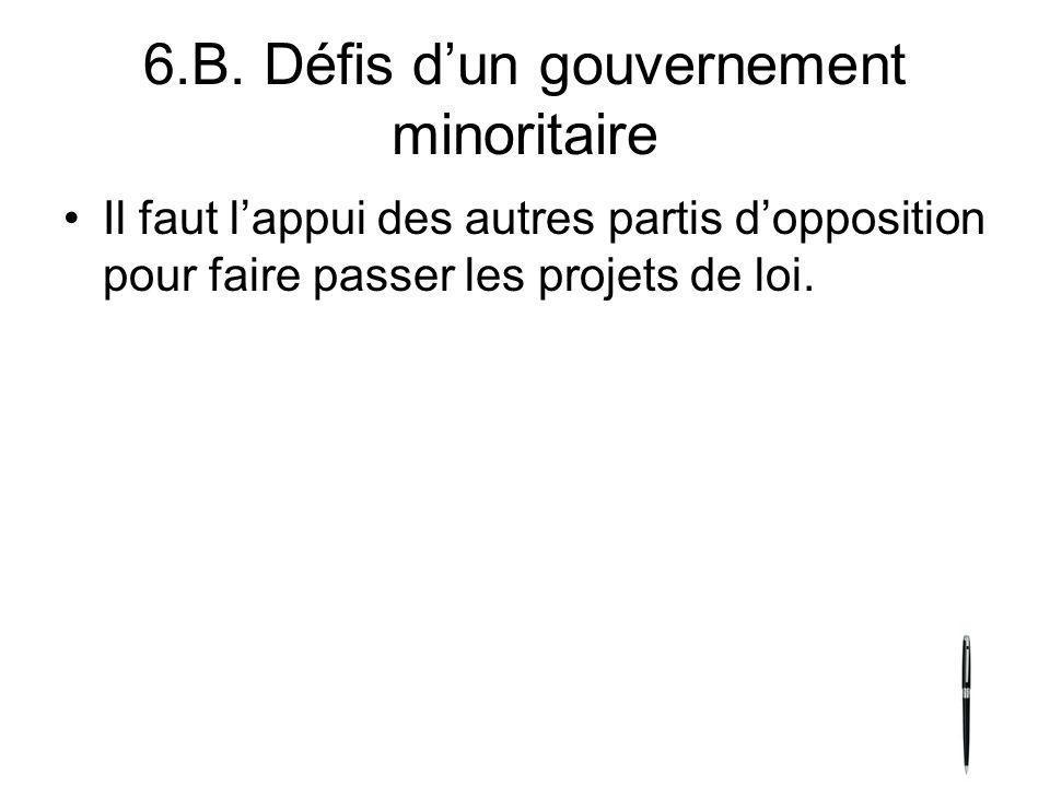 6.B. Défis dun gouvernement minoritaire Il faut lappui des autres partis dopposition pour faire passer les projets de loi.