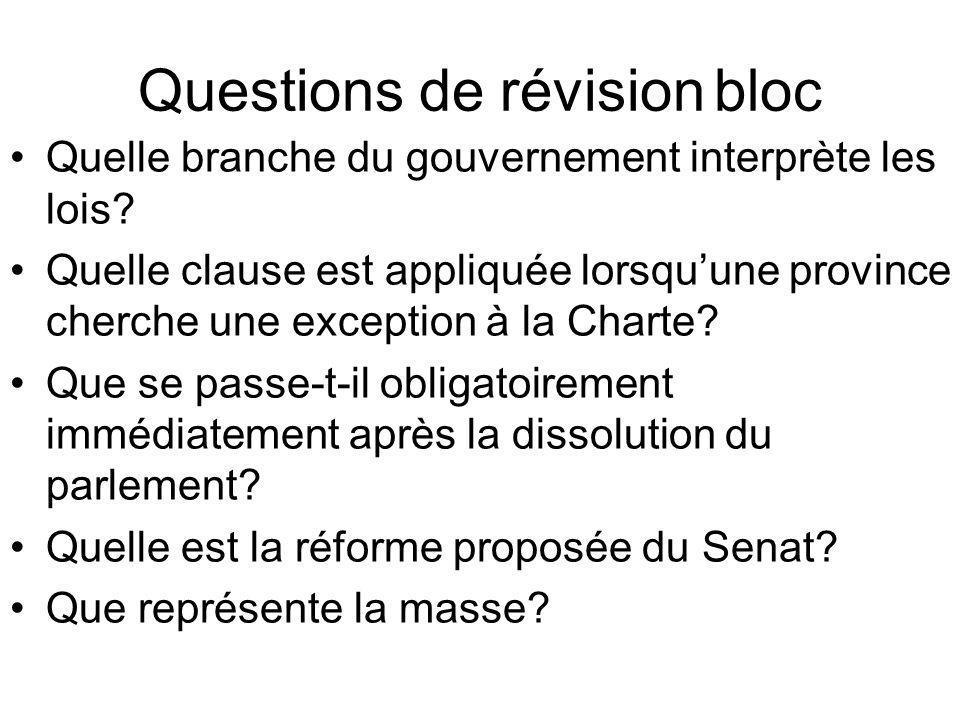 Questions de révisionbloc Quelle branche du gouvernement interprète les lois? Quelle clause est appliquée lorsquune province cherche une exception à l