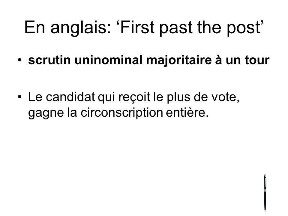 En anglais: First past the post scrutin uninominal majoritaire à un tour Le candidat qui reçoit le plus de vote, gagne la circonscription entière.