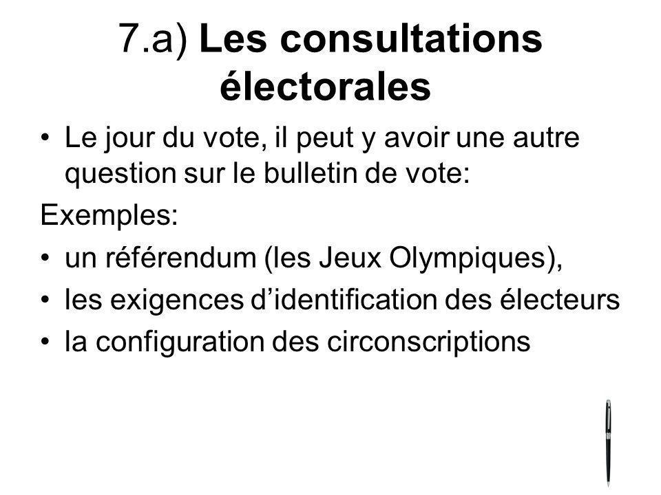 7.a) Les consultations électorales Le jour du vote, il peut y avoir une autre question sur le bulletin de vote: Exemples: un référendum (les Jeux Olym