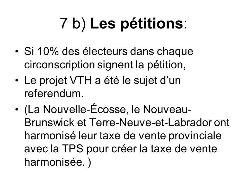 7 b) Les pétitions: Si 10% des électeurs dans chaque circonscription signent la pétition, Le projet VTH a été le sujet dun referendum. (La Nouvelle-Éc