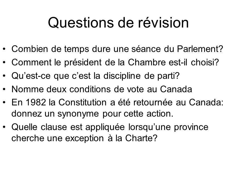 Questions de révision Combien de temps dure une séance du Parlement? Comment le président de la Chambre est-il choisi? Quest-ce que cest la discipline