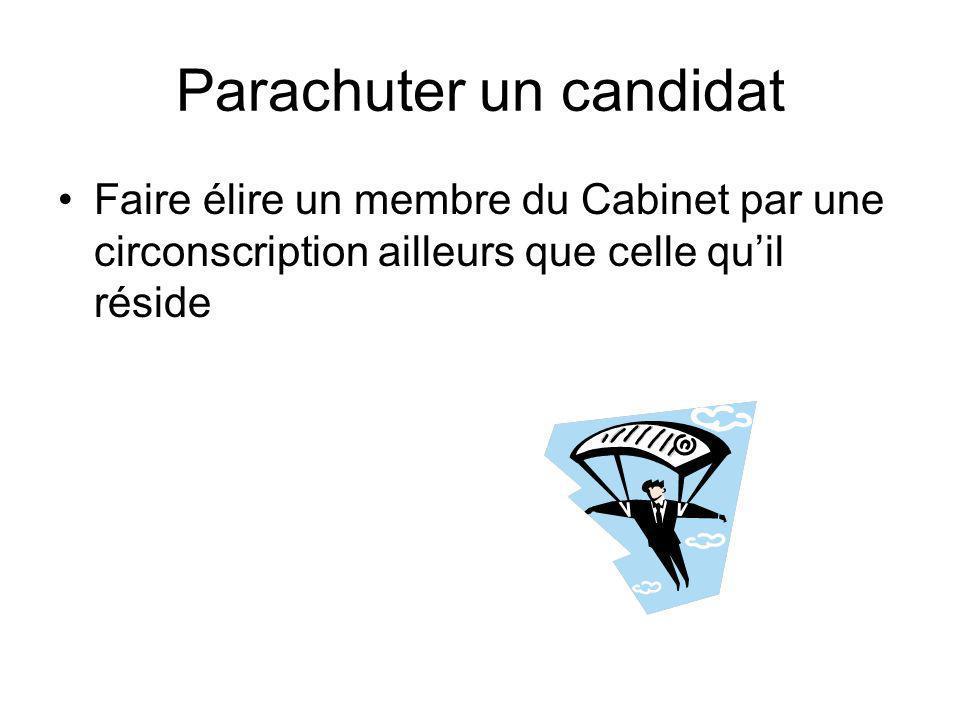 Parachuter un candidat Faire élire un membre du Cabinet par une circonscription ailleurs que celle quil réside