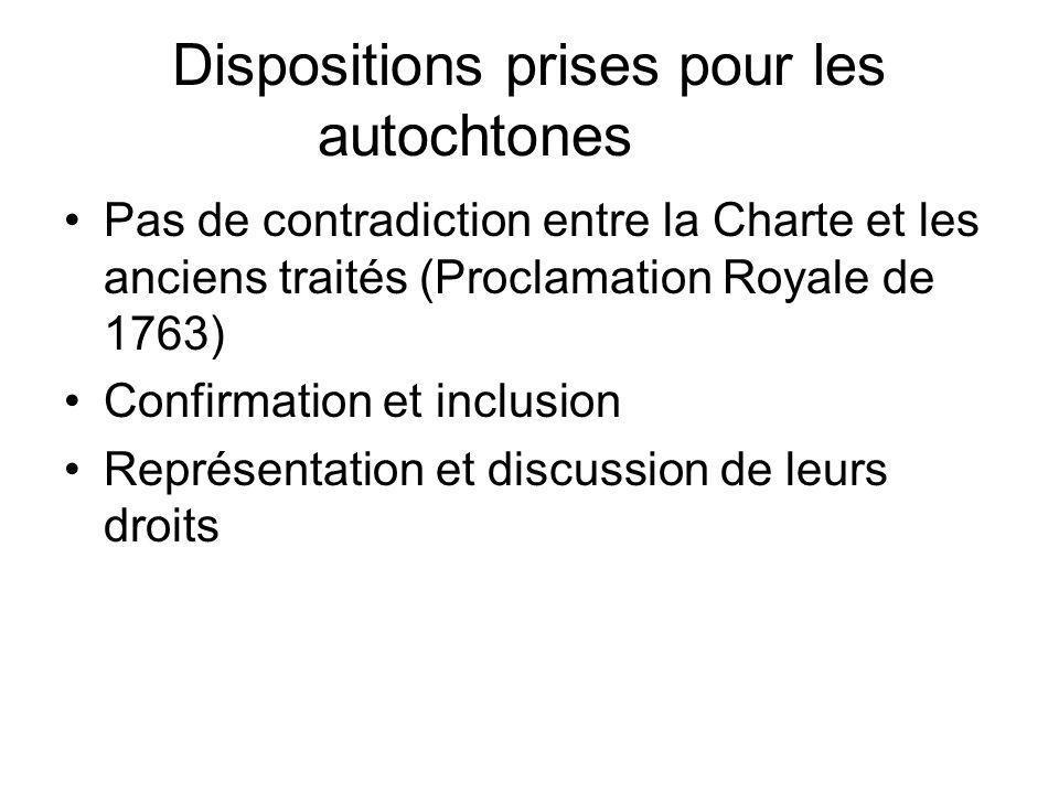 Dispositions prises pour les autochtones Pas de contradiction entre la Charte et les anciens traités (Proclamation Royale de 1763) Confirmation et inc
