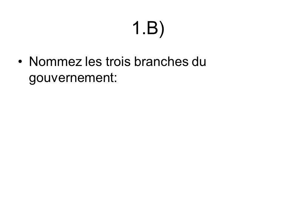 1.B) Nommez les trois branches du gouvernement: