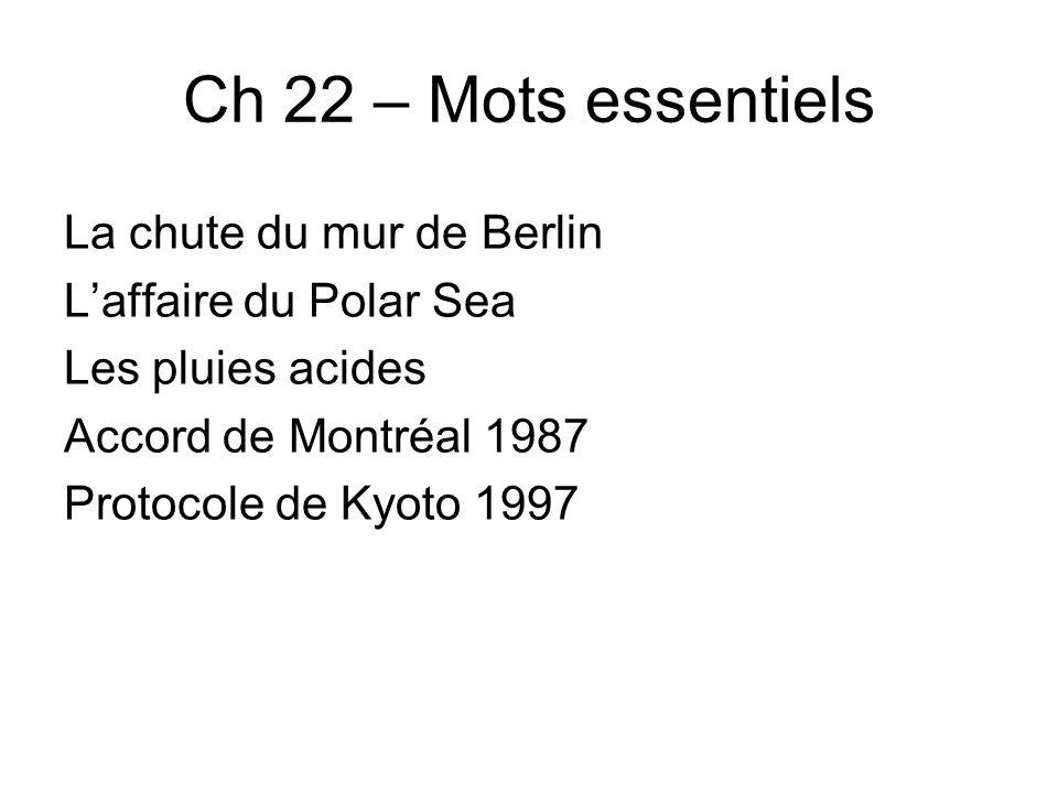 Tableau danalyse ch 22 Définition et participation canadienne Importance mondiale La chute du mur de Berlin Les pluies acides Laffaire du Polar Sea Protocole de Montréal 1987 Protocole de Kyoto 1997