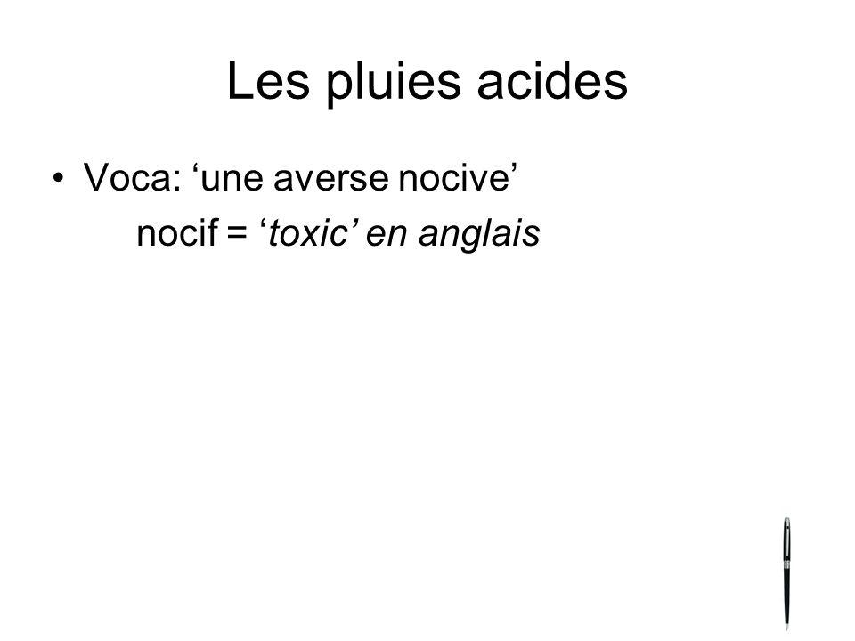 Les pluies acides Voca: une averse nocive nocif = toxic en anglais