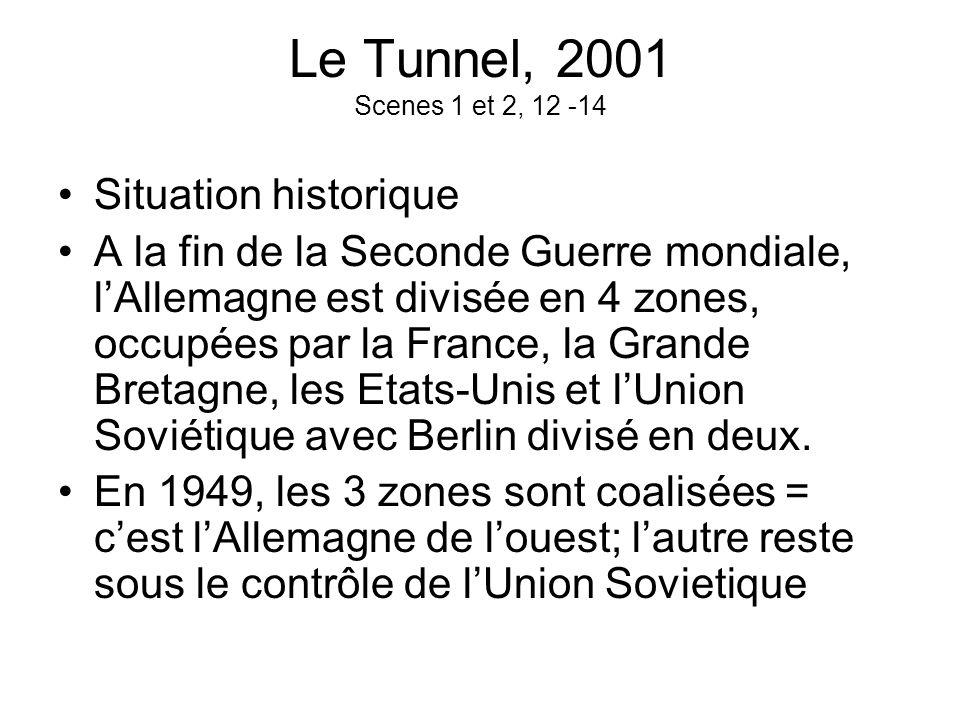 Le Tunnel, 2001 Scenes 1 et 2, 12 -14 Situation historique A la fin de la Seconde Guerre mondiale, lAllemagne est divisée en 4 zones, occupées par la
