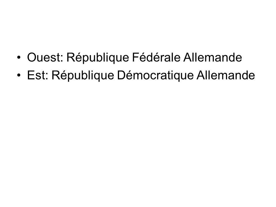 Ouest: République Fédérale Allemande Est: République Démocratique Allemande