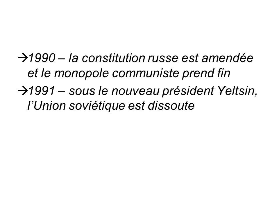 1990 – la constitution russe est amendée et le monopole communiste prend fin 1991 – sous le nouveau président Yeltsin, lUnion soviétique est dissoute