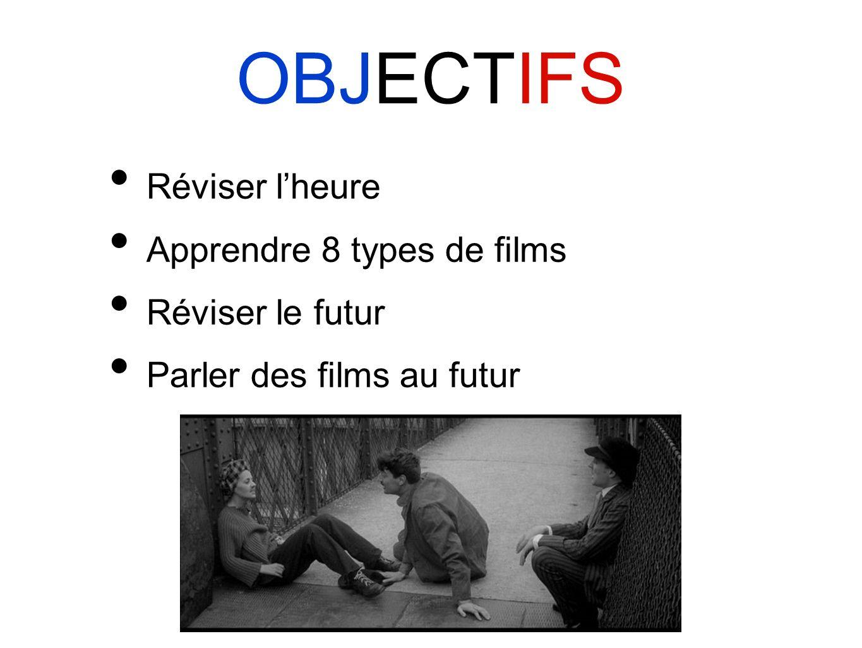 OBJECTIFS Réviser lheure Apprendre 8 types de films Réviser le futur Parler des films au futur