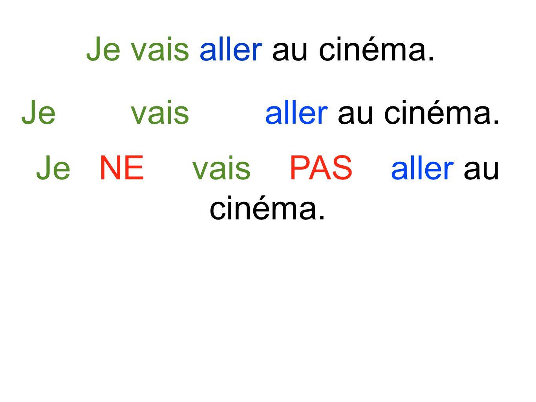 Je vais aller au cinéma. Je NE vais PAS aller au cinéma.